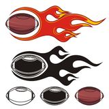 Flaming footballs Royalty Free Stock Images