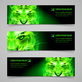 Flaming force. Set of banners with mystic tiger in green flame Stock Images