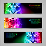 Flaming force. Set of banners with mystic tiger in multicolored flame Stock Image