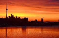 Flaming glow dawn Toronto skyline Royalty Free Stock Photography