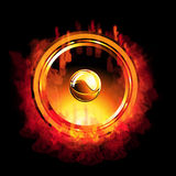 Flaming gold Speaker royalty free stock image