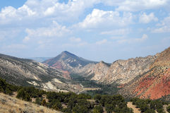 Flaming Gorge. Mountainous panoramic view of Flaming Gorge with multi-colored terrain royalty free stock photography