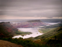 Flaming gorge. The gorgeous Flaming gorge on a misty day Flaming Gorge National Recreation, Utah royalty free stock photography