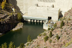 Flaming Gorge Dam detail. Flaming Gorge dam outlets and power station Stock Images