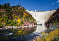 Flaming Gorge Dam. View Of Flaming Gorge Dam From Green River In Red Canyon Royalty Free Stock Image