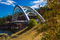 Flaming Gorge Reservoir Bridge. Arch Bridge At Flaming Gorge Reservoir Over Cart Creek Stock Images