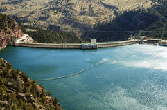 Flaming Gorge Reservoir and Dam. Flaming Gorge dam, reservoir and hydroelectric transmission station Stock Images