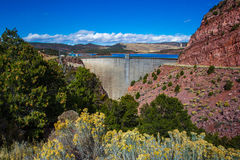 Flaming Gorge Reservoir Dam. Flaming Gorge Thin-Arch Concrete Dam Across Red Canyon Royalty Free Stock Photography