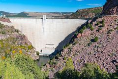 Flaming Gorge Reservoir Dam stock photo