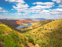 Flaming Gorge Reservoir Wyoming. Aerial view of Flaming Gorge National Recreation Area located between Utah and Wyoming, a reservoir on the Green River, created royalty free stock photo