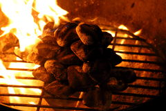 Flaming Grill. Charcoal flamed grill perfect for restaurants Stock Image