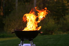 Flaming grill Royalty Free Stock Photos