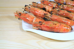 Flaming Grilled Whole River Prawns Served on White Plate Royalty Free Stock Photo