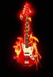 Flaming guitar royalty free stock photos