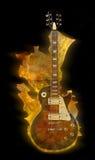 Flaming guitar. Burning electric guitar on black background Stock Image