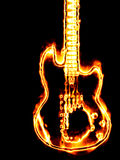 Flaming guitar. Electronic guitar in flames on a black background Stock Photos