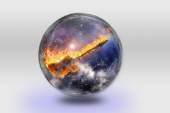 Flaming Guitar inside crystal sphere Stock Photo