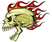Flaming hair skull Stock Images