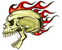 Flaming hair skull Stock Images
