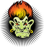 Flaming Haired Troll. Head of a troll with fiery hair and a starburst background Royalty Free Stock Image