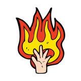 Flaming hand symbol. Cartoon flaming hand symbol Royalty Free Stock Images