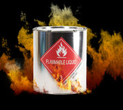 Flaming Hazardous Liquids Can. Computer generated flames surrounding hazardous materials shipping can with DOT required label noting resin solution and required royalty free stock photos