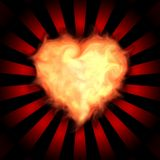 Flaming heart. On  background pattern Stock Image