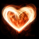 Flaming heart. Flaming red valentine heart shape Royalty Free Stock Photos