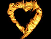 Flaming heart. With black background Stock Photo