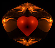 Flaming heart. A red heart surrounded by flaming swirls Vector Illustration