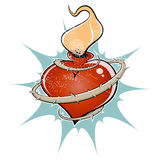 Flaming heart Stock Images