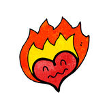Flaming heart symbol cartoon Royalty Free Stock Image