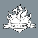 Flaming Heart Tattoo with ribbon. True love. Heart burning in fire. Ribbon wraps around red heart. Old school style. Engraving style. Black and white Royalty Free Stock Image