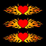 Flaming heart trendy design logo templates. Colorful vector flaming heart love design logo templates Stock Images