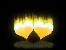 Flaming hearts. Two hearts burning for love and passion Stock Photography