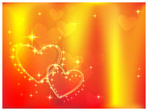 Flaming hearts. Bright, fiery background with two hearts sparkling vector illustration