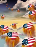Flaming hearts. Winged flaming hearts in USA national colors flies into the sky Stock Photos