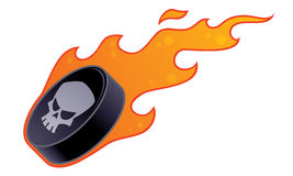 Flaming Hockey Puck. Vector drawing of a flaming hockey puck with skull design vector illustration