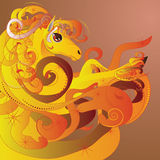 Flaming horse. Beautiful cartoon flaming horse with decorative mane Stock Photo