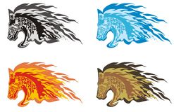 Flaming horse head. Four options of the horse head on a white background - a symbol of 2014 Stock Photography