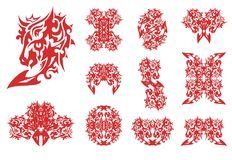 Flaming horse head set patterns. Decorative horse and the symbols formed from her in red-white tones for your design Stock Photo