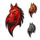Flaming horse head for sporting mascot design. Red flaming horse head mascot with mad and powerful stallion horse. Sporting competition badge or sport club Stock Images