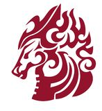 Flaming horse head in tribal style. Red on the white Stock Images