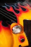 Flaming Hot Rod. Chrome and flame details on a vintage Hot Rod Stock Photos