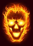 Fire skull. Flaming human skull digital painting Royalty Free Stock Image