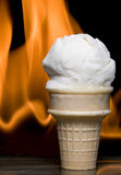 Flaming Ice Cream Stock Photography
