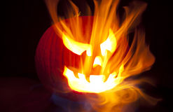 Flaming Jack-o-Lantern Royalty Free Stock Photo