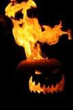 Flaming Jack O Lantern stock photography