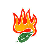 Flaming leaf cartoon Royalty Free Stock Photography
