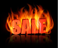 Flaming letters spelling SALE. Royalty Free Stock Photos